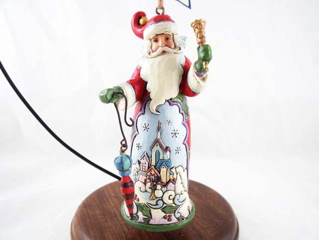 Resin Christmas Ornaments.Santa W Winter Town Holding Ornament And Bell Hanging Resin Christmas Ornament Jim Shore Heartwood Creek