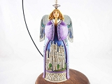 Angel with Church Scene - Hanging Resin Ornament - Jim Shore Heartwood Creek