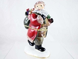 Santa w Gift Sack and Tree- Bejeweled Enameled Hinged Pewter Trinket Box