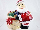 Santa with Overflowing Gift Bag - Bejeweled Enameled Pewter Trinket Box