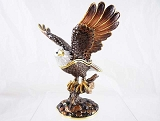Majestic Bald Eagle - Bejeweled Enameled Pewter Trinket Box w Hinged Lid