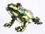 Large Green & Yellow Bull Frog - Bejeweled Enameled Pewter Lidded Trinket Box