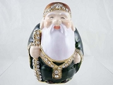 Asian White-Bearded Old Man - Luck - Bejeweled Enameled Pewter Trinket Box