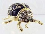 Black Beetle - Bejeweled Enameled Pewter Trinket Box w Hinged Lid