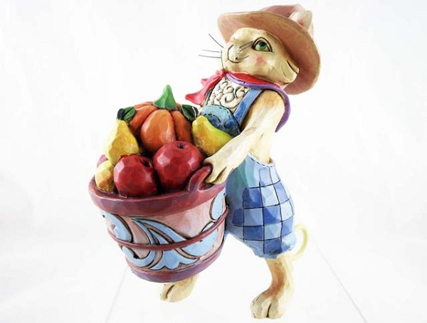 """Piled High With Goodness"" - Harvest Cat - Jim Shore Heartwood Creek - Stone Resin Figurine"