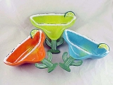 Make Margaritas - Set of 3 Dip Bowls - Turquoise, Green, Orange - Clay Art - Ceramic