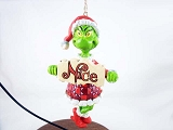 Grinch w Naughty & Nice Spinner Sign - Hanging Resin Christmas Ornament - The Grinch from Jim Shore