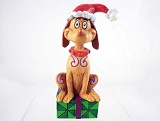 Max the Dog with Santa Hat Mini Resin Figurine - Dr Seuss' How The Grinch Stole Christmas - Designed by Jim Shore