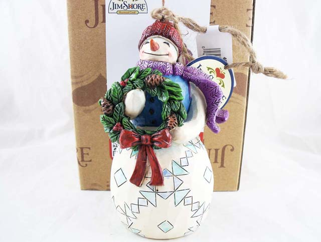 Resin Christmas Ornaments.Snowman W Wreath Hanging Resin Christmas Ornament Jim Shore Heartwood Creek