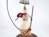 Snowman w Top Hat, Broom - Hanging Christmas Ornament - Jim Shore Heartwood Creek