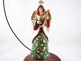 Ivory / Green Angel w Harp Hanging Resin Christmas Ornament - Jim Shore Heartwood Creek