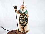 Green and Cream Santa w Staff Hanging Resin Christmas Ornament - Jim Shore Heartwood Creek
