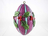 Purple, Blue Egg w Holly - 2016 Hand-Painted Holiday Eggs - Jim Shore Heartwood Creek - Stone Resin Ornament