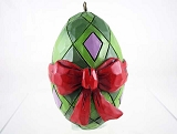 Green Egg w Red Bow - 2016 Hand-Painted Holiday Egg - Jim Shore Heartwood Creek - Stone Resin Ornament