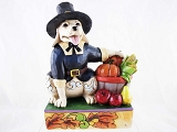 A Harvest Tail - Pilgrim Dog - 2013 Jim Shore Heartwood Creek - Resin Figurine