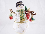 Sparkling Snowman w Gifts - Bejeweled Enameled Pewter Hinged-Lid Trinket Box