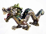 Asian-Style Green Wingless Dragon Bejeweled Enameled Pewter Trinket Box
