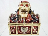 Pirate Skull on Chest - Bejeweled Enameled Hinged Pewter Trinket Box