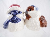 Holiday Birds Salt & Pepper Shakers - Mwah! - Blue and Brown - Ceramic