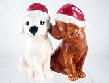 Holiday Labs - Salt and Pepper Ceramic Set - Golden, Chocolate Dogs - Mwah!