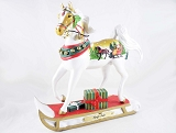 Sleigh Ride Pony - White Horse on Sled - 1E - Holiday 2019 Trail of Painted Ponies - Resin Figurine