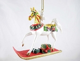 Sleigh Ride Pony - Hanging Resin Christmas Ornament - 2019 Holiday Trail of Painted Ponies