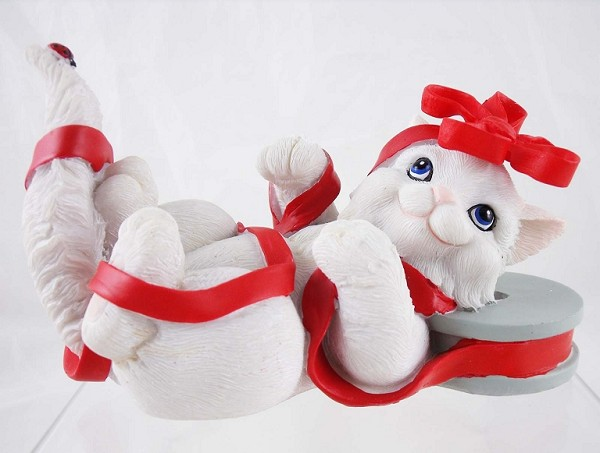 """All Wrapped Up In Holiday Fun"" - White Cat w Red Ribbon - Charming Purrsonalities - Resin Figurine"