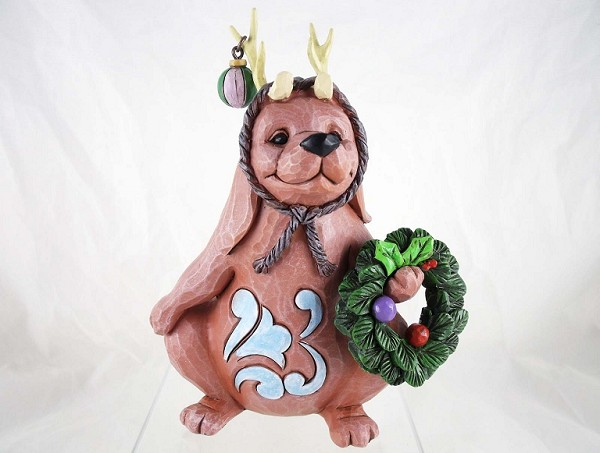 """Sit, Stay, and Deck the Halls"" - Dog as Reindeer - Jim Shore Heartwood Creek - Resin Figurine"