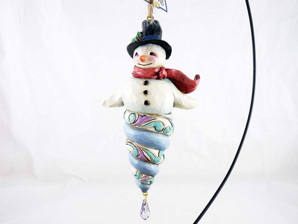 Winter Wonderland Snowman with Crystal - Hanging Resin Ornament - Jim Shore Heartwood Creek