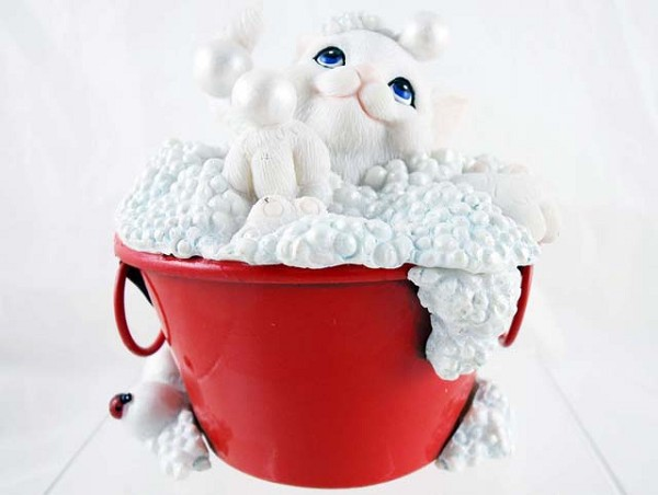 """Bubbling Over with Happiness"" - Bubble Bath - Charming Purrsonalities - Resin Figurine"