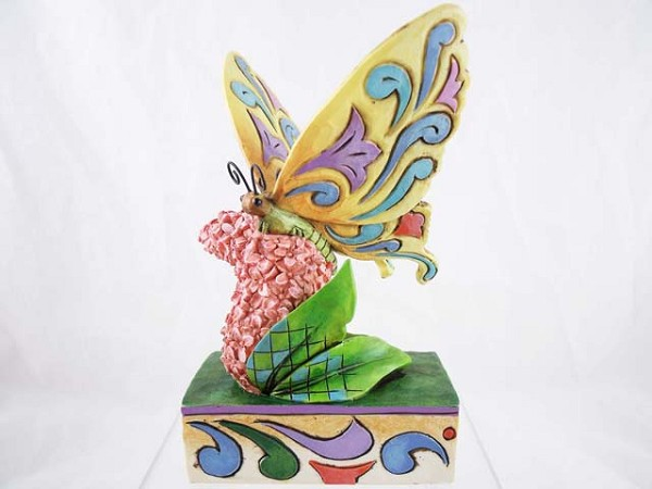 """Butterfly Kisses"" - Butterfly on Pink Flowers - Jim Shore Heartwood Creek - Resin Figurine"