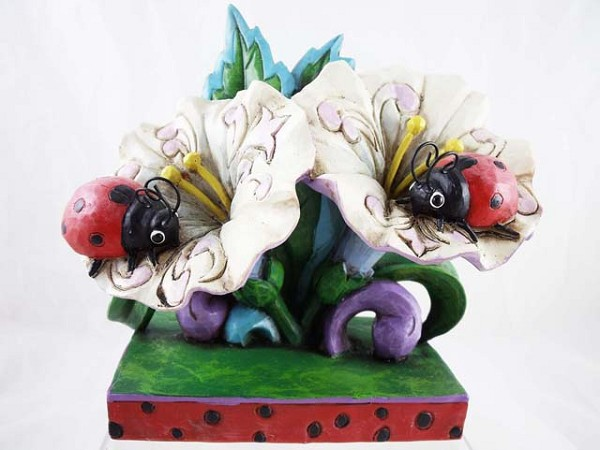 """Love Bugs"" - Ladybugs on Flowers - Jim Shore Heartwood Creek - Resin Figurine"