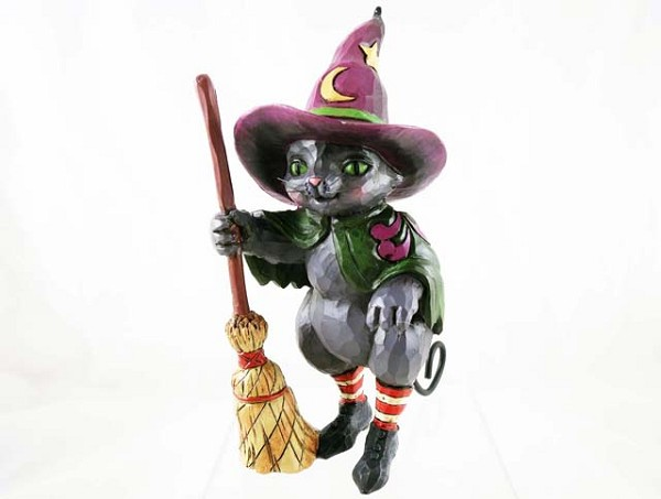 """Hocus Pocus"" - Witch Cat with Broom - Jim Shore Heartwood Creek - Resin Figurine"