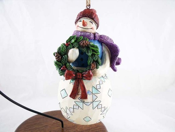 Snowman w Wreath - Hanging Resin Christmas Ornament - Jim Shore Heartwood Creek