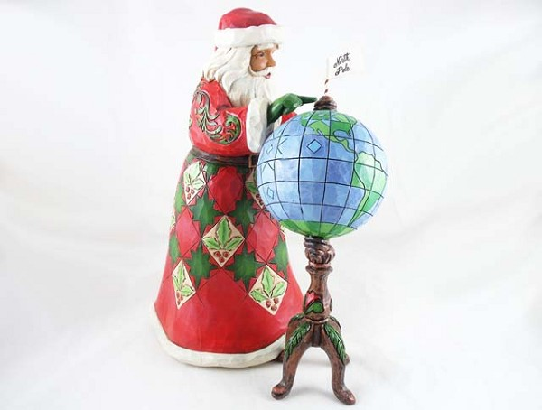 """Joy Is In The Journey"" - 2-Piece Santa and Globe - Jim Shore Heartwood Creek - Resin Figurine"
