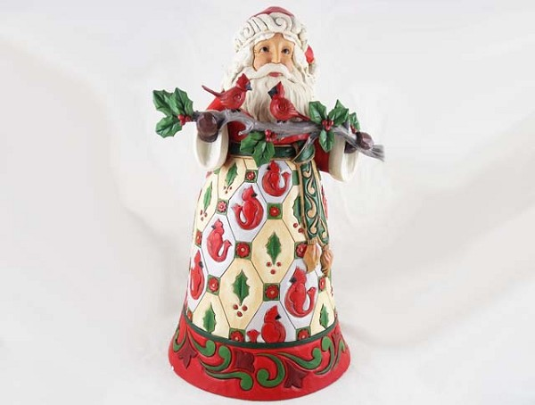 """Birds Of A Feather, Are Merry Together"" Figurine - Santa, Cardinals - Jim Shore Heartwood Creek"