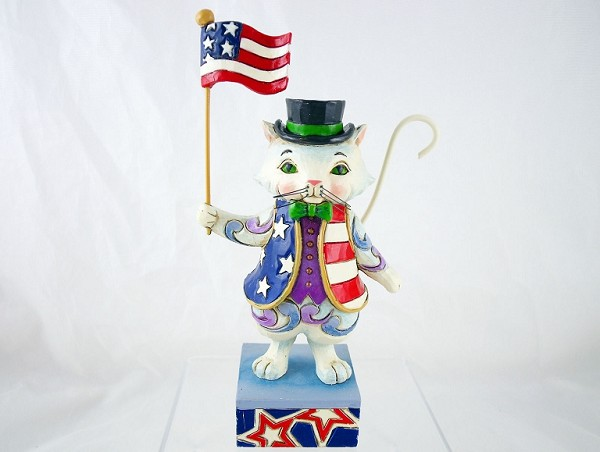 """Freedom Fur-Ever"" - Pint-Size Patriotic Cat - Jim Shore Heartwood Creek"