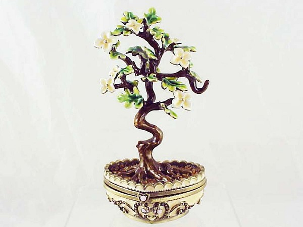 Dogwood Bonsai Tree - Bejeweled Enameled Pewter Trinket Box - Lift-Off Lid