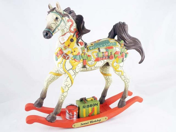 Santa's Workshop Pony - LE of 5,000 - 2018 Holiday Painted Ponies - Resin Figurine